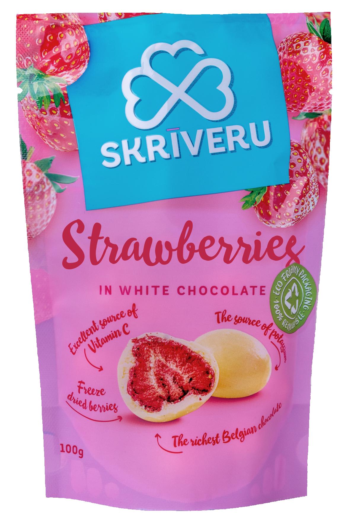 Maasikad valges šokolaadis